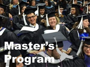 Photo of Master's students at graduation with link to infomration about the Master's program