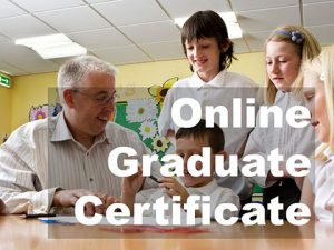 Photo of man working with students with link to information about the Online Graduate Certificate
